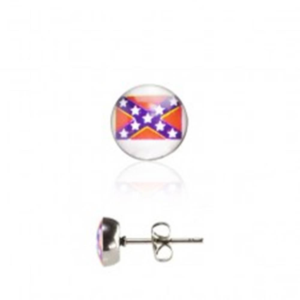 Šperky eshop Oceľové okrúhle náušnice - malá Južanská vlajka
