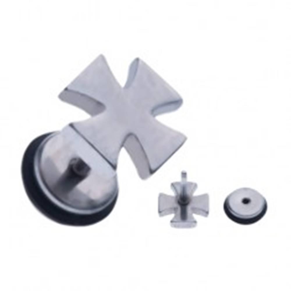 Šperky eshop Oceľový fake piercing do ucha - maltézsky kríž striebornej farby
