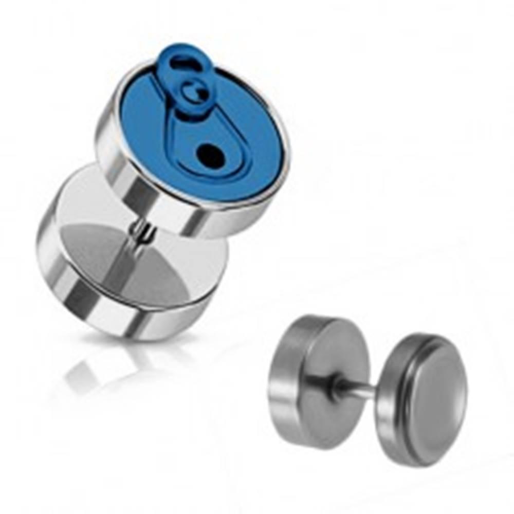 Šperky eshop Oceľový fake piercing do ucha v tvare plechovky