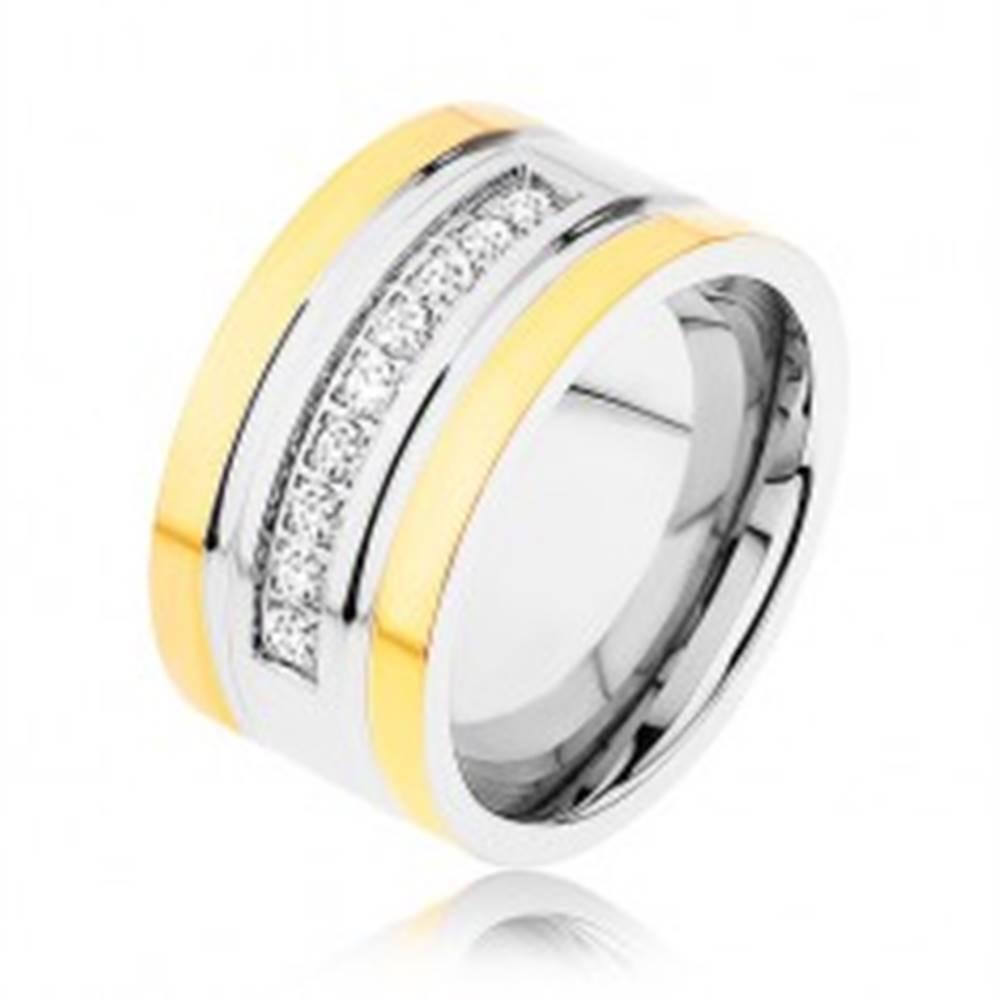 Šperky eshop Oceľový prsteň zlatej a striebornej farby, trblietavá zirkónová línia, zárezy - Veľkosť: 57 mm