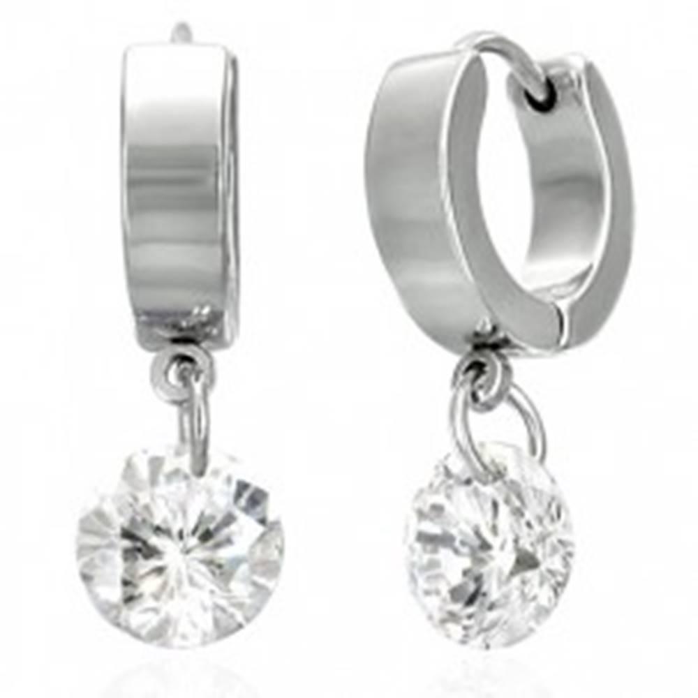 Šperky eshop Okrúhle náušnice z chirurgickej ocele - číry kamienok