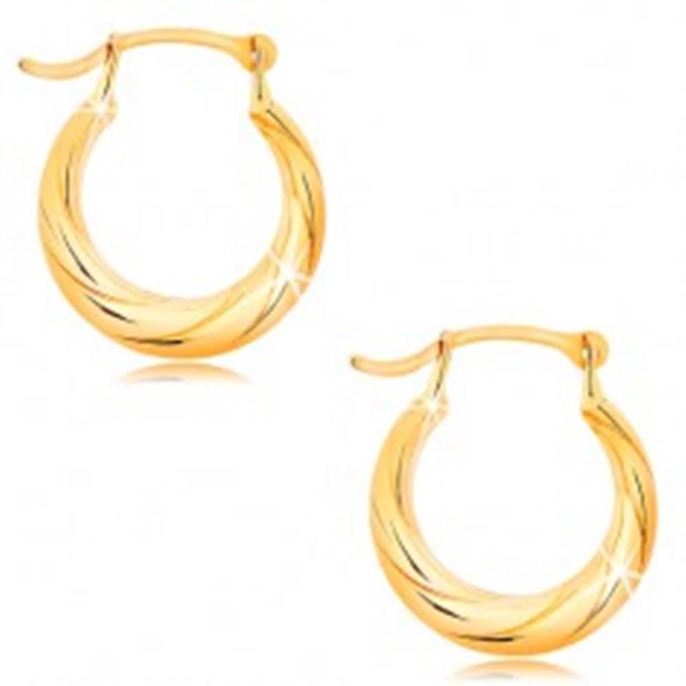 Šperky eshop Okrúhle náušnice zo žltého 14K zlata - motív točeného lana, vysoký lesk