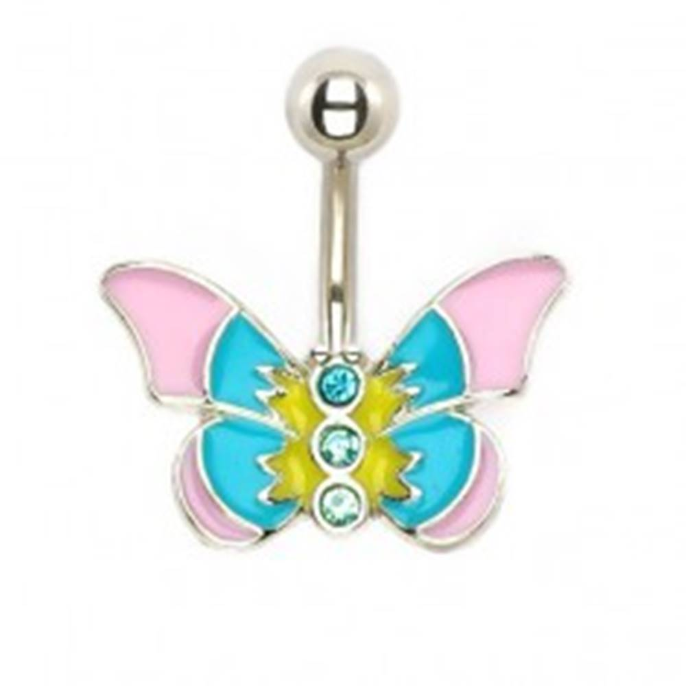 Šperky eshop Piercing do brucha - pastelový motýľ so zirkónmi