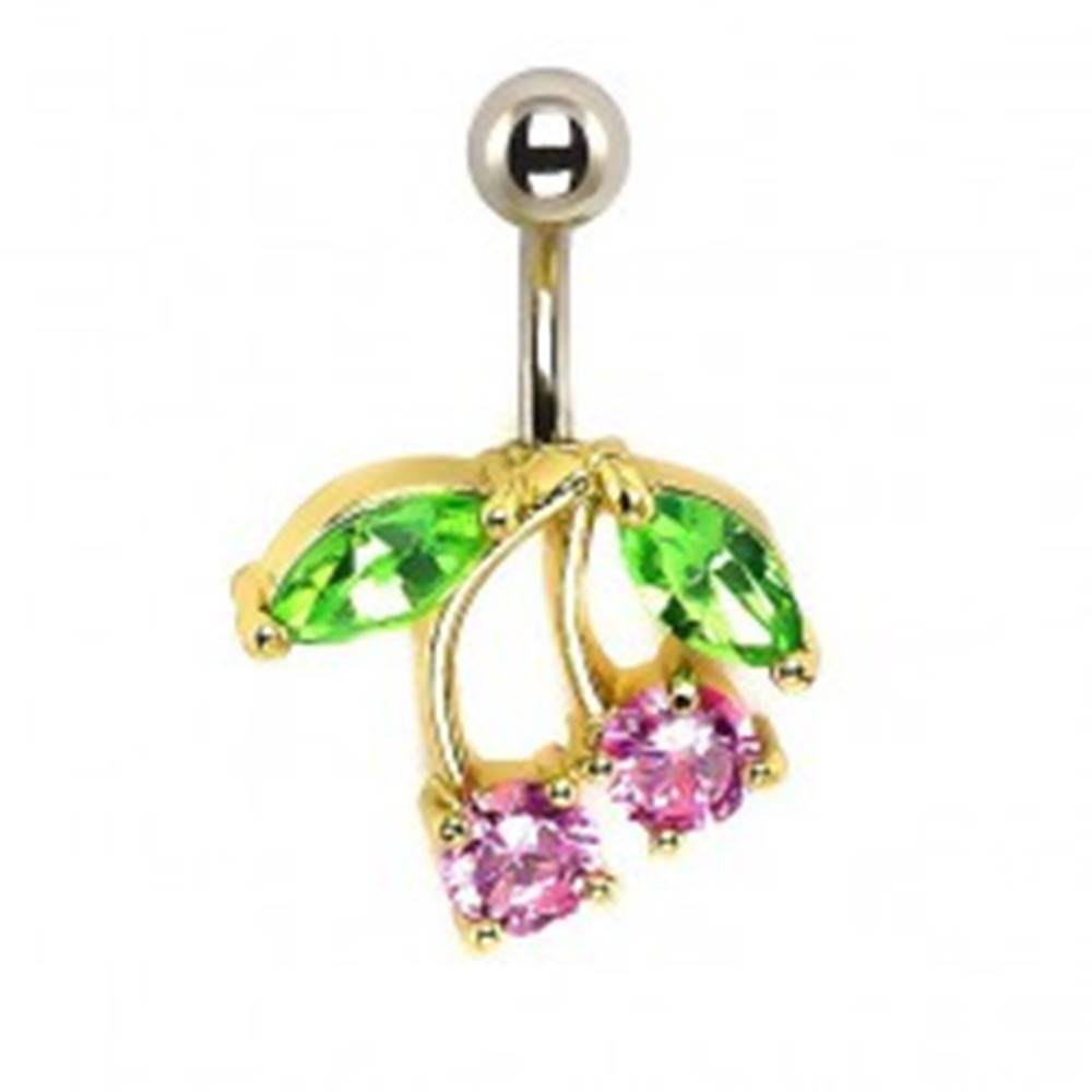 Šperky eshop Piercing do pupku - čerešne, ružové a zelené zirkóny, podklad zlatej farby