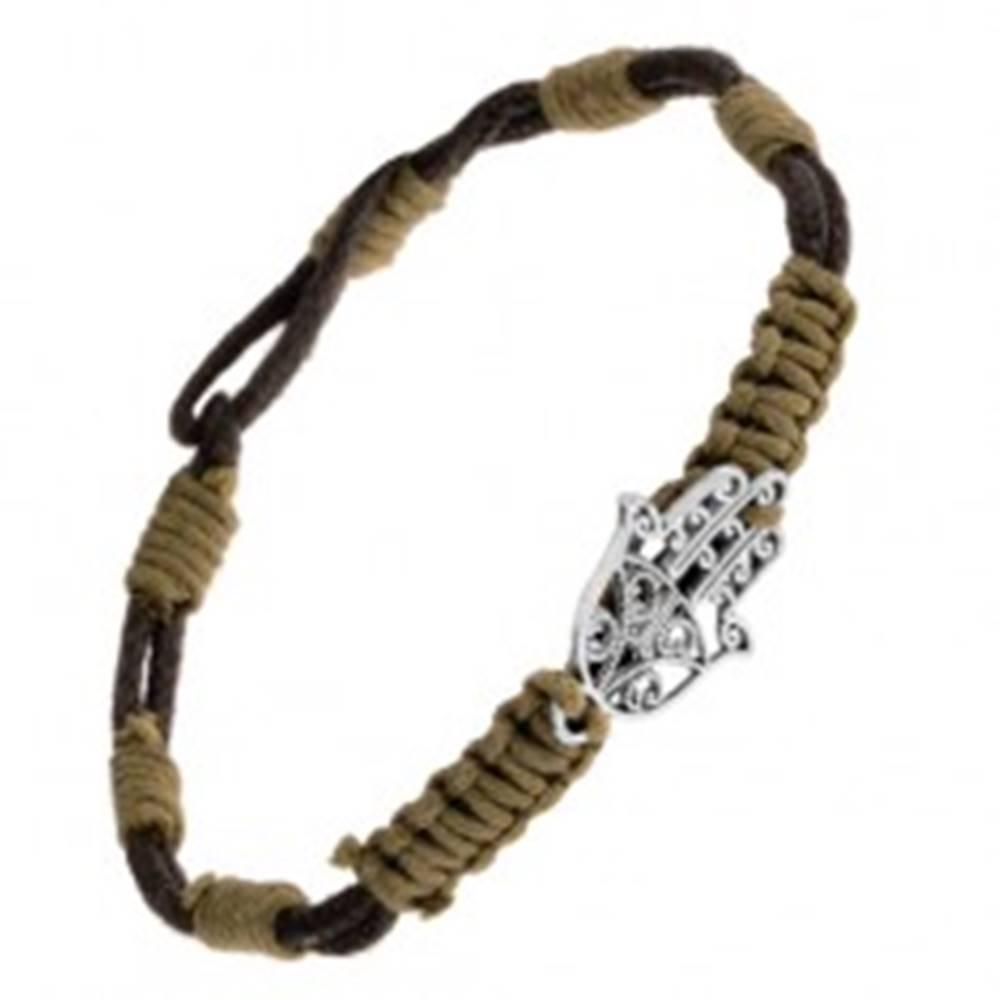 Šperky eshop Pletený náramok s príveskom z ocele - vyrezávaná ruka Fatimy, čiernozelený