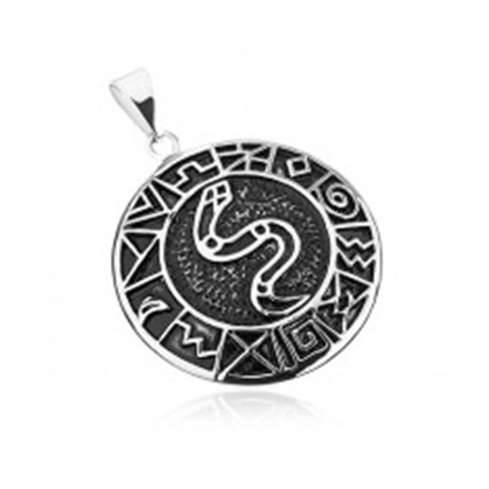 Šperky eshop Prívesok z chirurgickej ocele, had v kruhu lemovaný starodávnymi symbolmi
