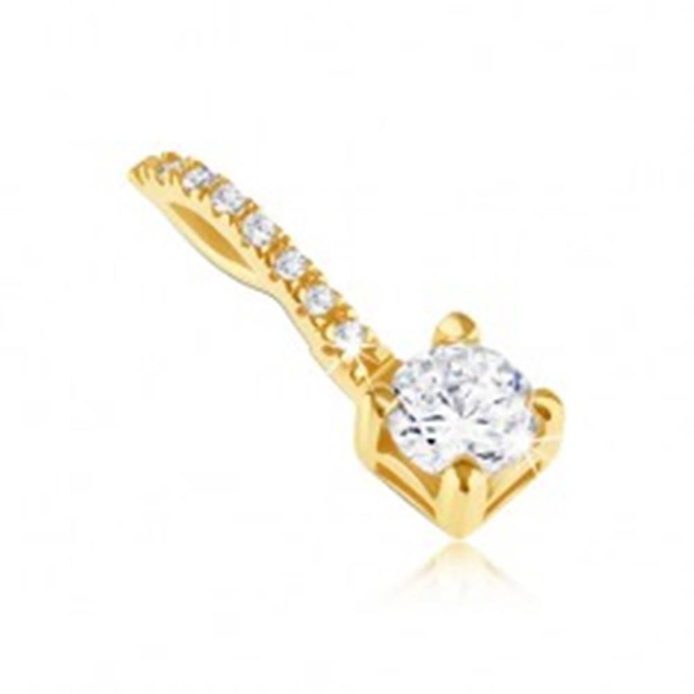 Šperky eshop Prívesok zo 14K zlata - zirkón v štvorcovej objímke a zirkónová slučka