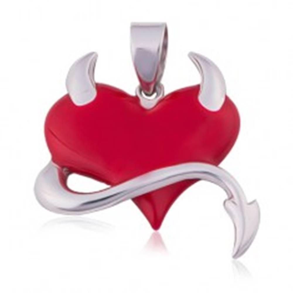 Šperky eshop Prívesok zo striebra 925, červené srdce, chvostík, rožky