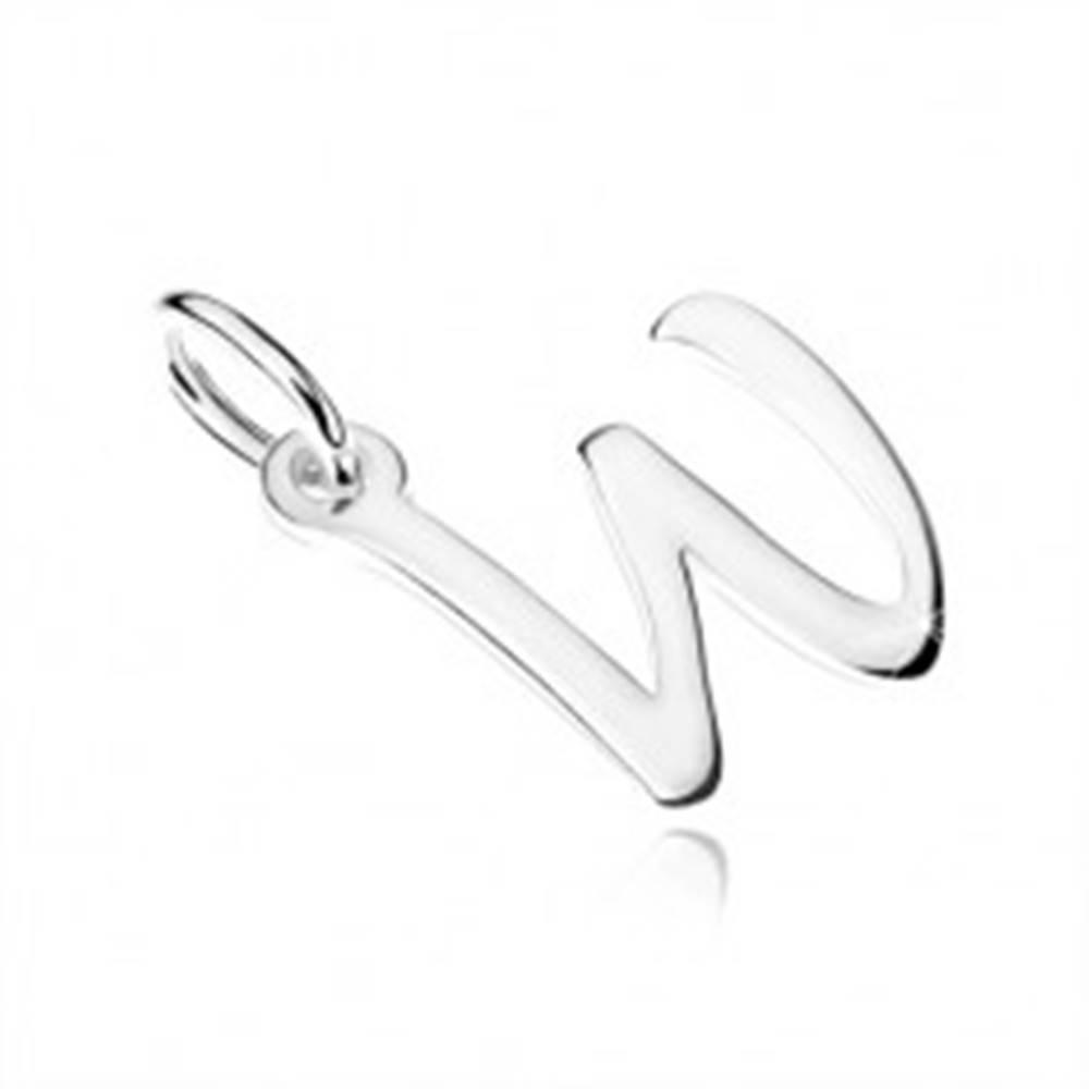 """Šperky eshop Prívesok zo striebra 925, písmeno z abecedy """"W"""", zrkadlovolesklé"""