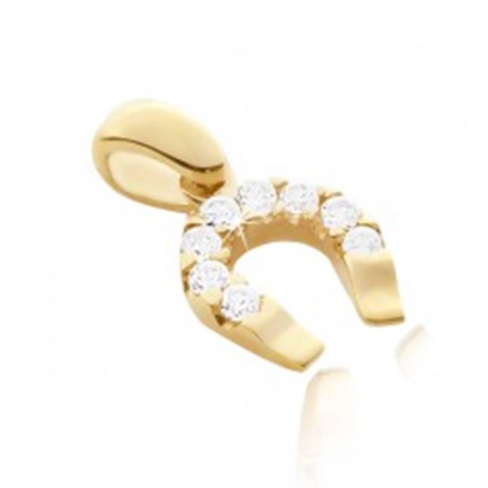 Šperky eshop Prívesok zo zlata 14K - podkova pre šťastie zo zirkónmi