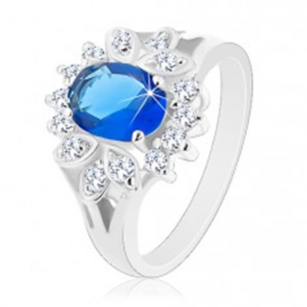 Šperky eshop Prsteň s rozdelenými ramenami, tmavomodrý oválny zirkón, číry lem - Veľkosť: 48 mm