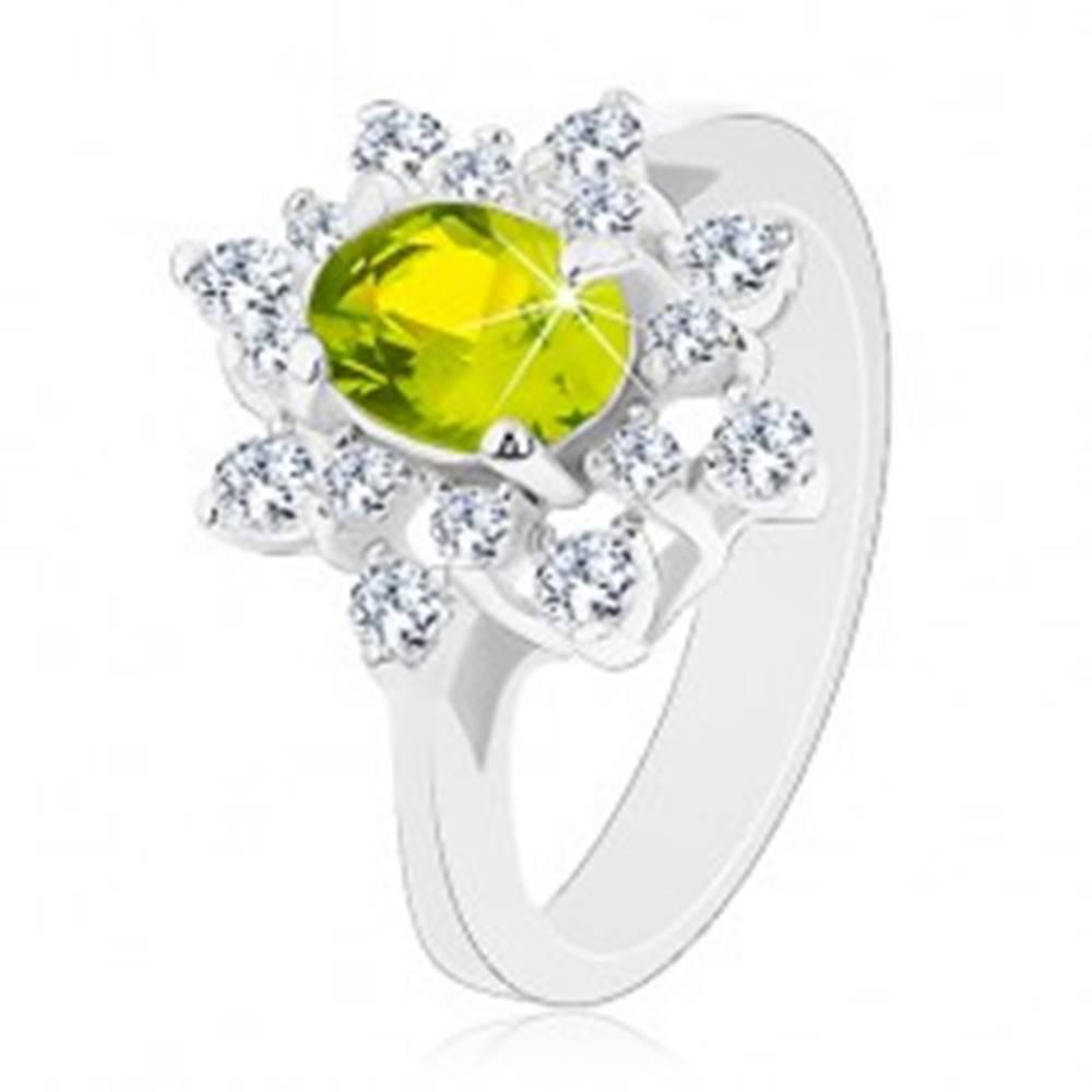 Šperky eshop Prsteň so strieborným odtieňom, ligotavý zeleno-číry kvet - Veľkosť: 49 mm