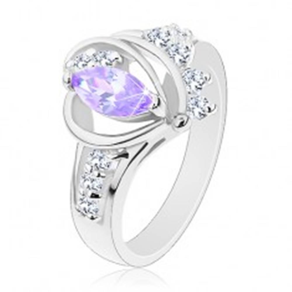 Šperky eshop Prsteň v striebornom odtieni, svetlofialový zirkón, hladké oblúky, číre zirkóny - Veľkosť: 50 mm