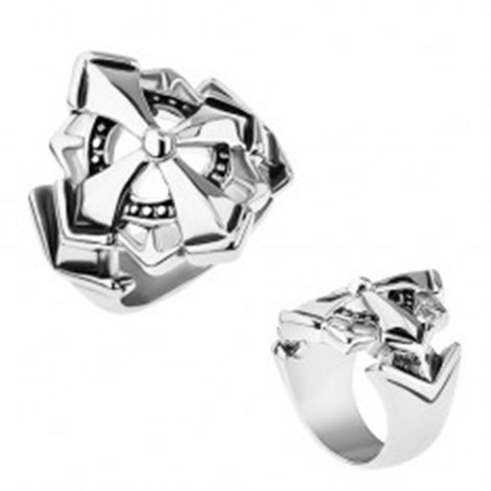 Šperky eshop Prsteň z chirurgickej ocele, veľký maltézsky kríž zdobený patinou - Veľkosť: 55 mm