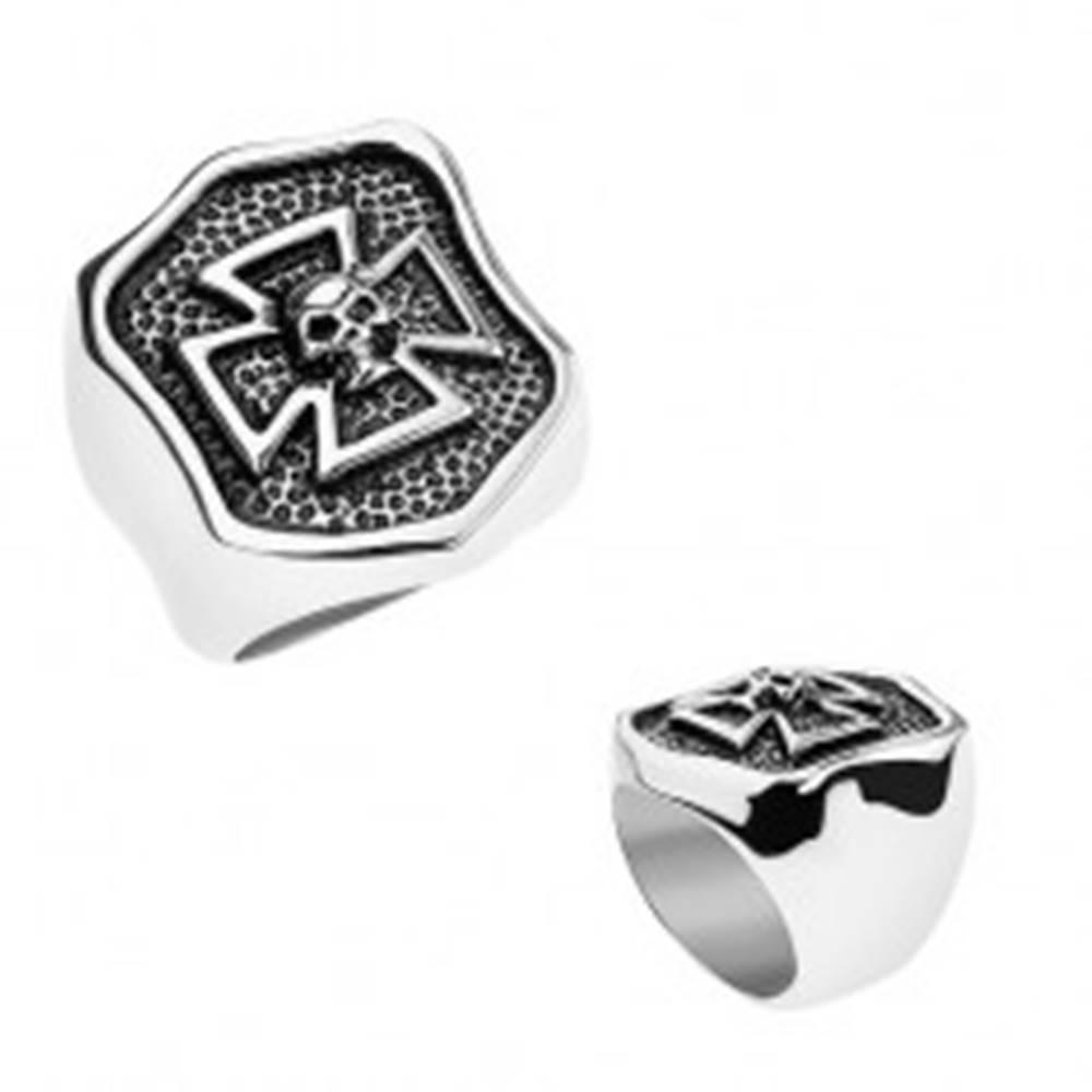 Šperky eshop Prsteň z ocele 316L, patinovaný erb s maltézskym krížom a lebkou - Veľkosť: 56 mm