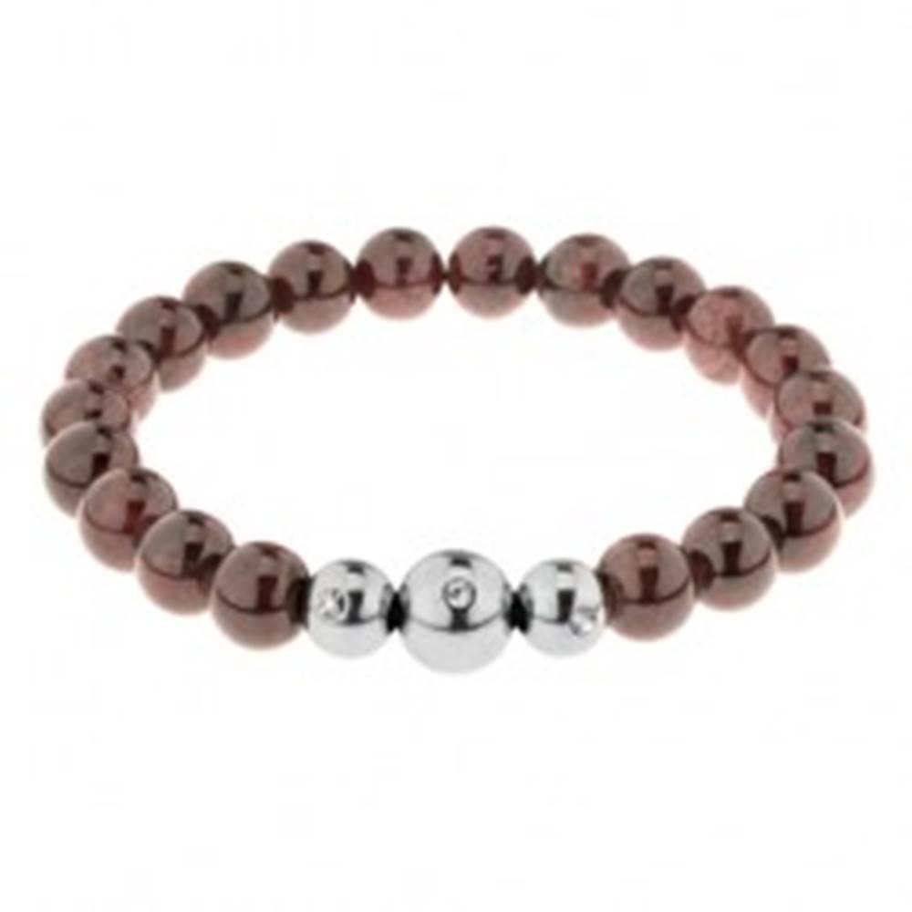 Šperky eshop Pružný náramok z lesklých granátových guličiek hnedej farby, oceľové korálky