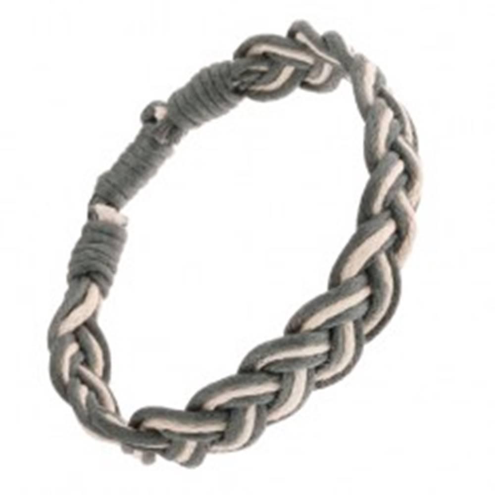 Šperky eshop Šnúrkový dvojfarebný náramok na spôsob vrkoča, nastaviteľná dĺžka