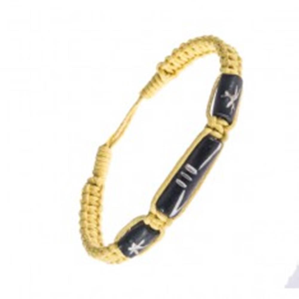 Šperky eshop Šnúrkový náramok - pletený, žltá farba, ozdobné korálky