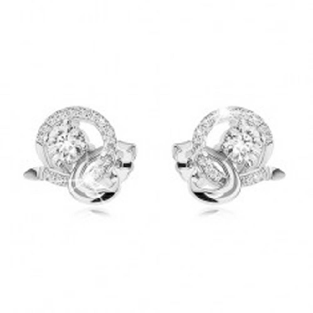 Šperky eshop Strieborné náušnice 925, brúsený kamienok, trblietavá zirkónová a lesklá zaoblená línia
