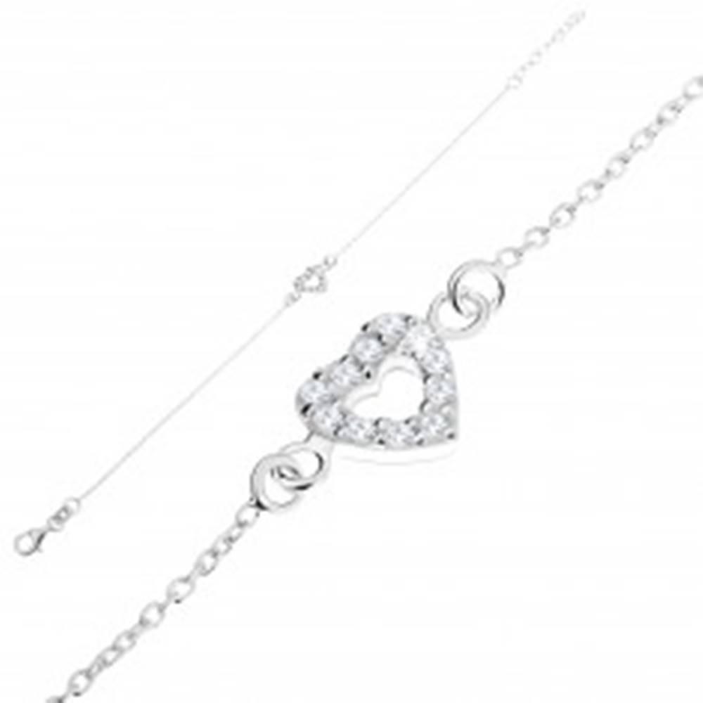 Šperky eshop Strieborný 925 náramok, jemná retiazka, zirkónový obrys srdca, nastaviteľný