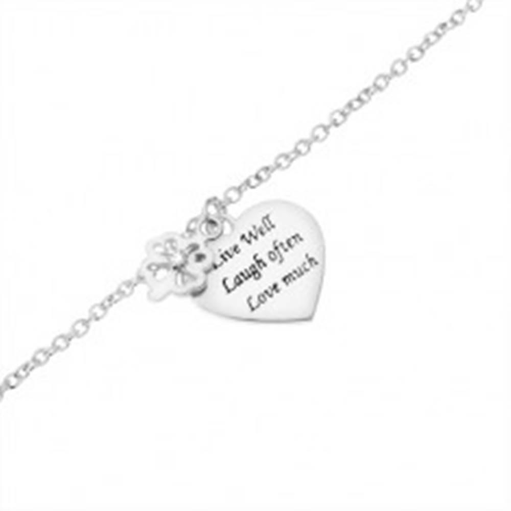 Šperky eshop Strieborný náramok 925, štvorlístok so zirkónom, ploché srdce s nápisom