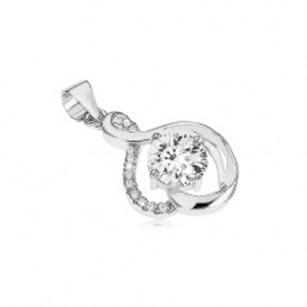 Šperky eshop Strieborný prívesok 925, zaoblené línie, číre zirkóny, okrúhly ligotavý kamienok