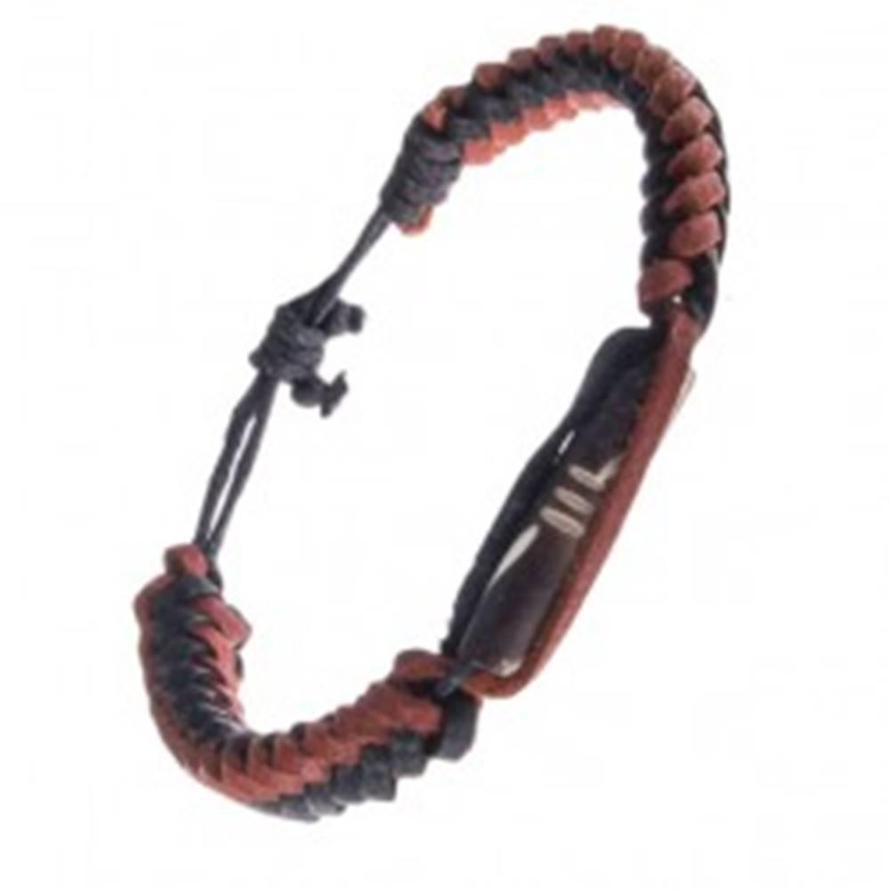 Šperky eshop Vrkočovo zapletaný kožený náramok - hnedý ozdobný valček