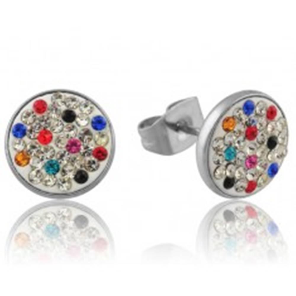 Šperky eshop Zdobené puzetové náušnice z ocele - farebné zirkóny