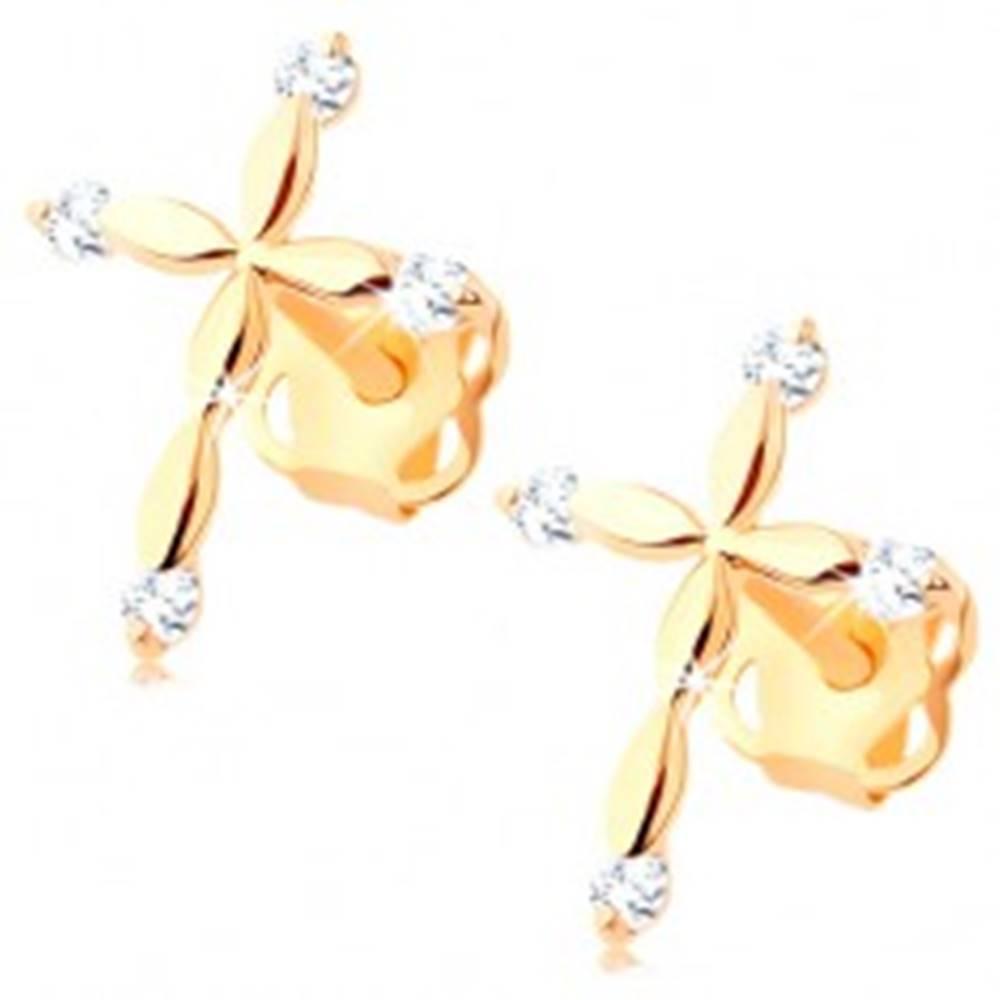 Šperky eshop Zlaté diamantové náušnice 585 - latinský krížik, číre brilianty