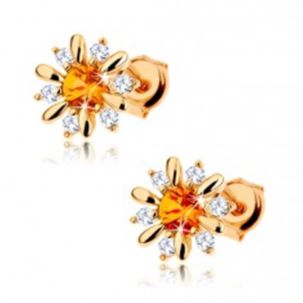 Šperky eshop Zlaté náušnice 375 - rozkvitnutý kvet so žltým citrínom v strede, číre zirkóniky