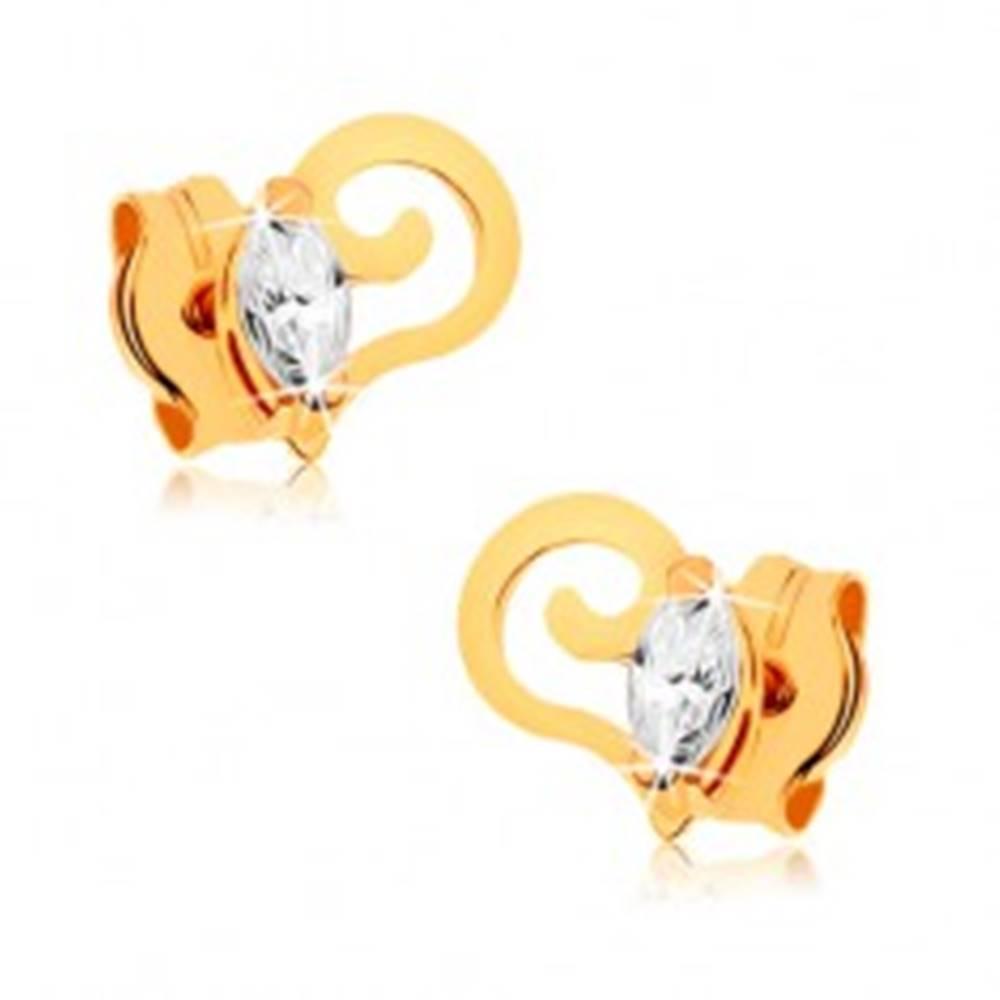 Šperky eshop Zlaté náušnice 375 - špirálovito zvinutá línia, číre zirkónové zrnko