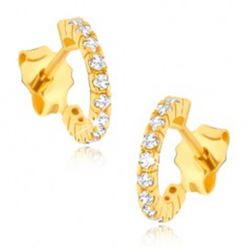 Šperky eshop Zlaté náušnice 585 - napichovacie zirkónové polkruhy