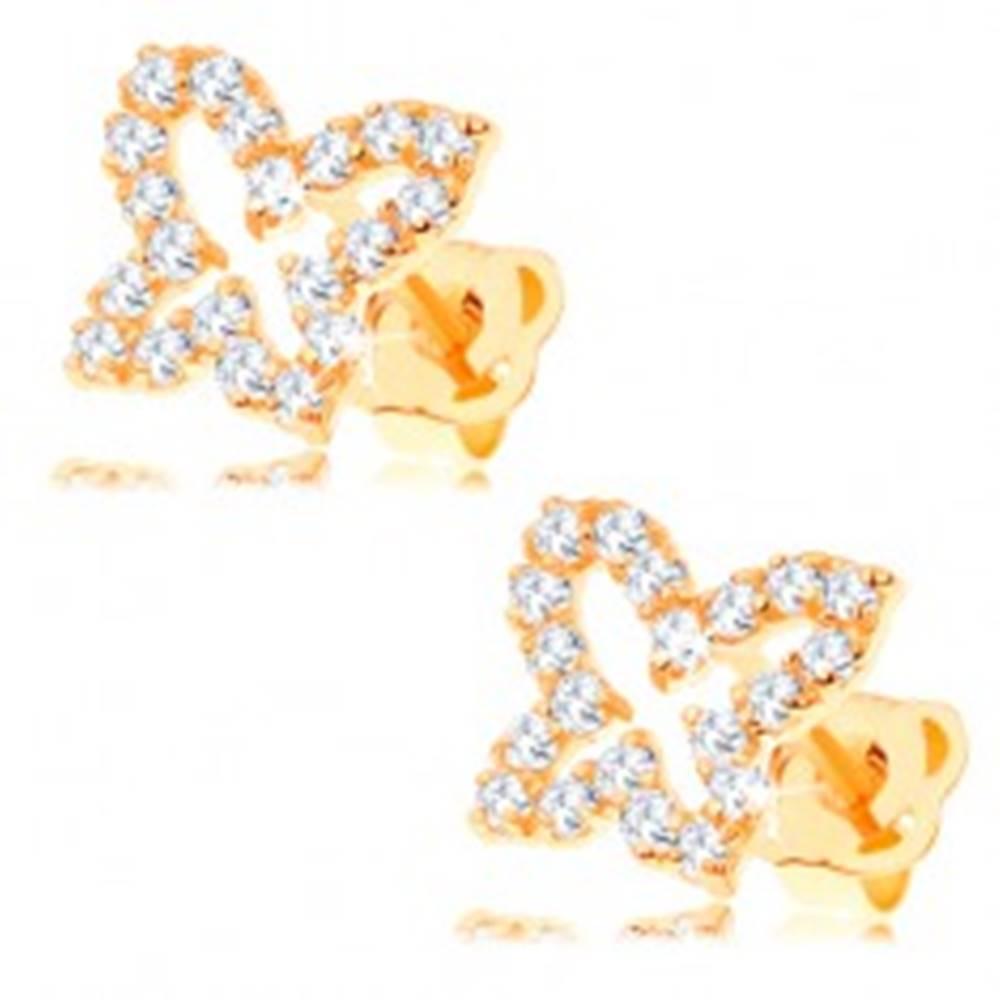 Šperky eshop Zlaté náušnice 585 - obrys motýľa vykladaný čírymi zirkónmi, puzetky