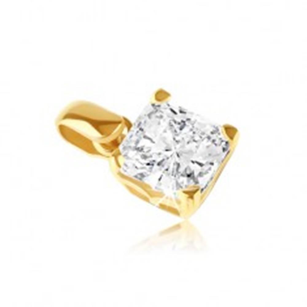 Šperky eshop Zlatý 14K prívesok - štvorcový zirkón v ozdobnej objímke s paličkami