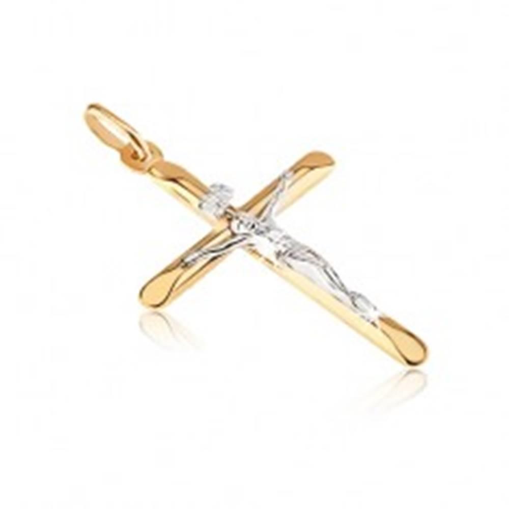 Šperky eshop Zlatý prívesok 585 - kríž s oválne skosenými cípmi a Kristom