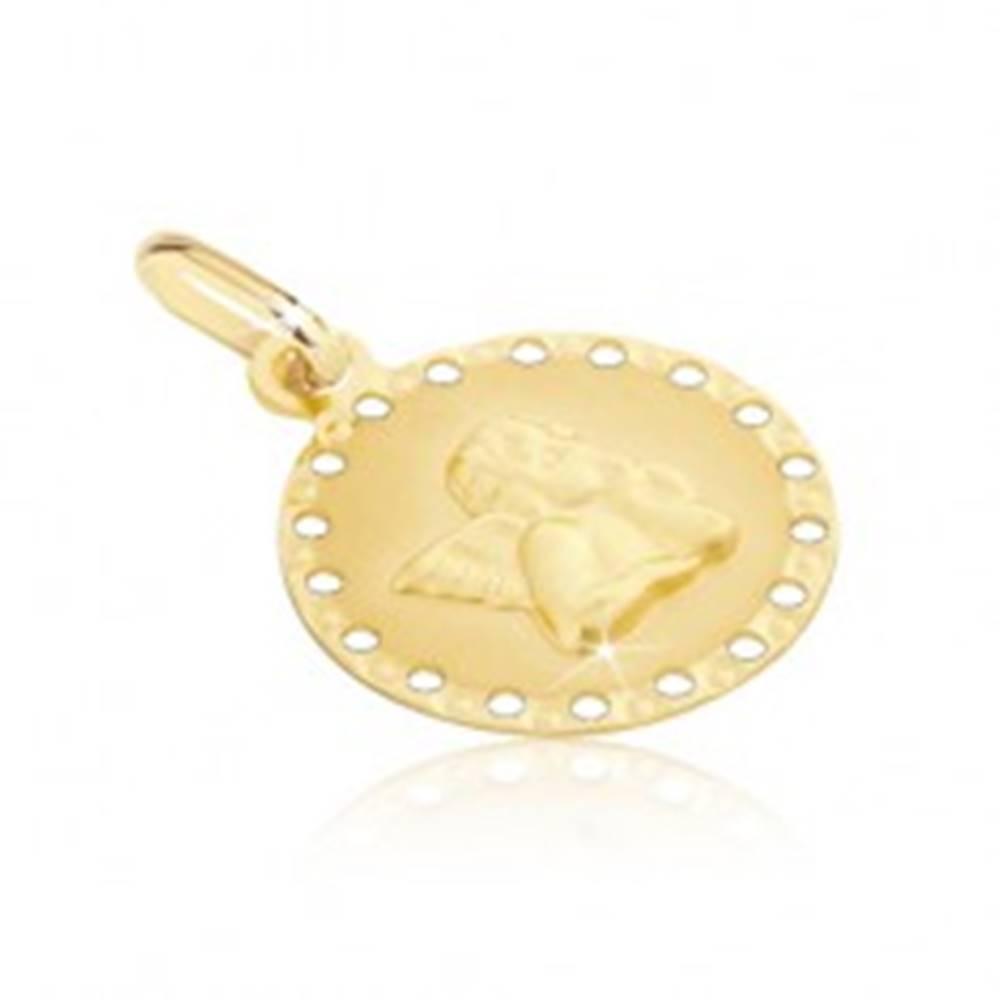 Šperky eshop Zlatý prívesok 585 - okrúhla známka s malými otvormi a anjelikom