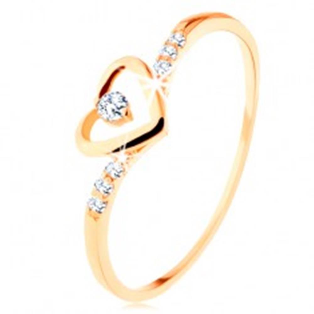 Šperky eshop Zlatý prsteň 585, kontúra srdca s čírym zirkónikom, zdobené ramená - Veľkosť: 49 mm
