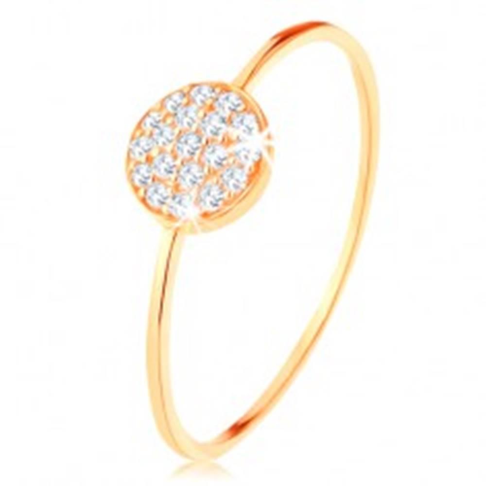 Šperky eshop Zlatý prsteň 585 - tenké lesklé ramená, kruh vykladaný čírymi zirkónmi - Veľkosť: 50 mm