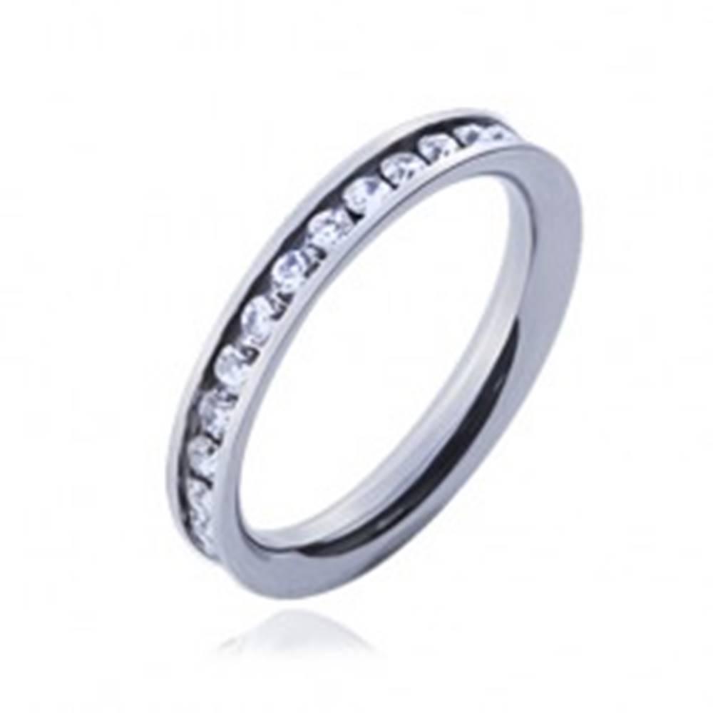 Šperky eshop Prsteň z chirurgickej ocele s čírymi okrúhlymi zirkónmi - Veľkosť: 47 mm