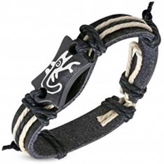 Čierny náramok z umelej kože - známka s motívom jašteričky a šnúrky