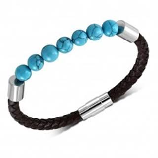 Pletený tmavohnedý náramok zo syntetickej kože, guličky v modrom odtieni