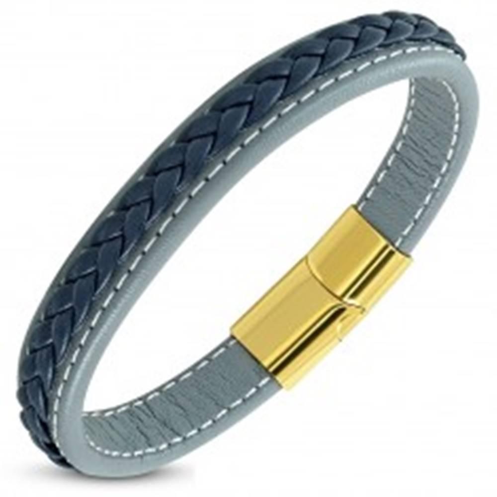 Šperky eshop Modrosivý koženkový náramok, tmavomodrý pletenec, magnetické zapínanie