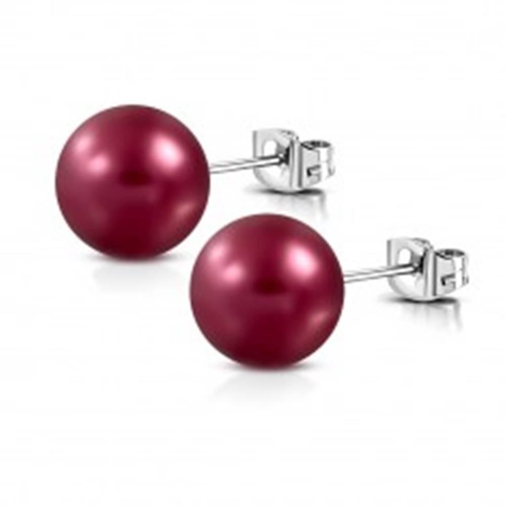 Šperky eshop Náušnice z ocele - matná umelá perla bordovej farby, puzetové zapínanie