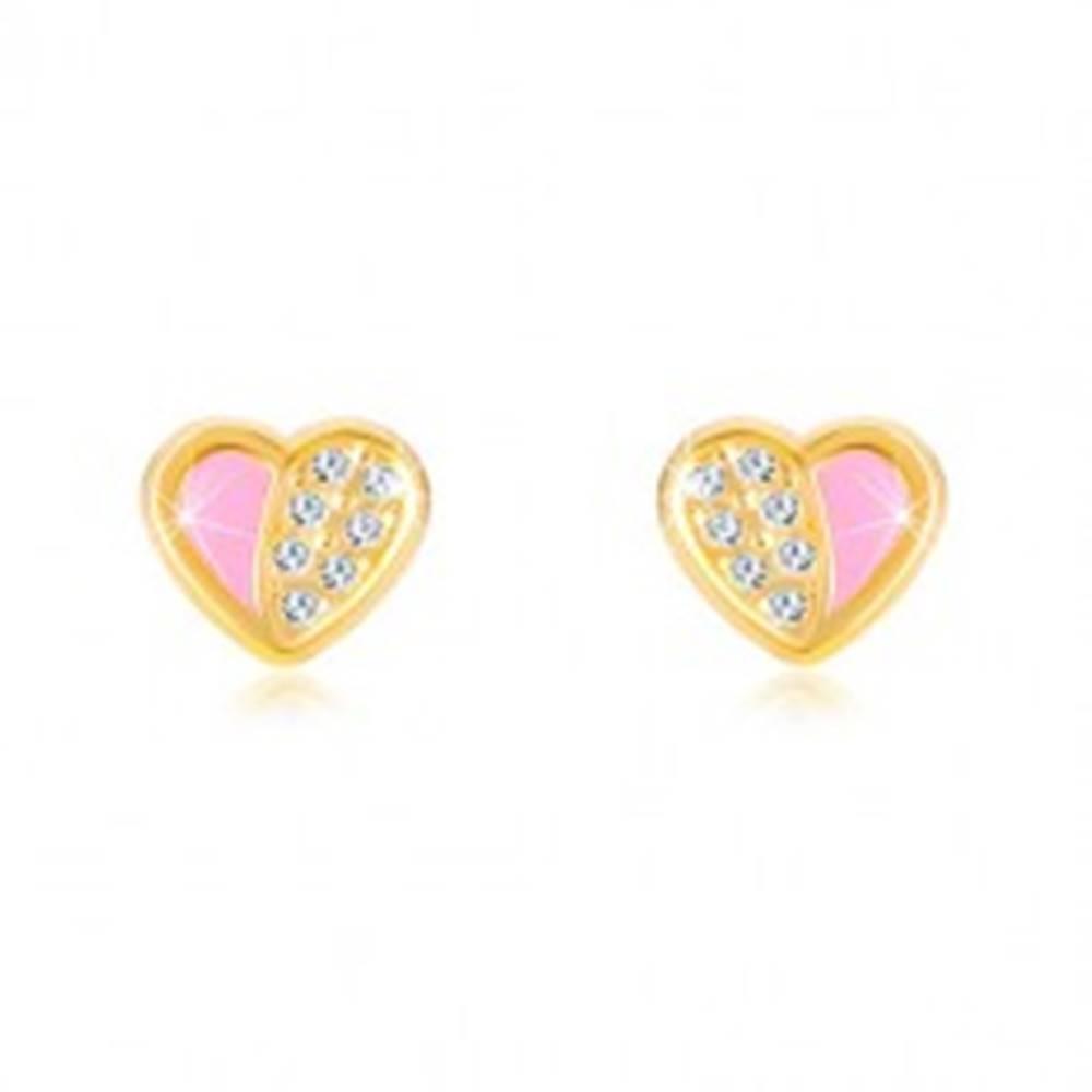 Šperky eshop Náušnice zo 14K zlata - súmerné srdiečko vykladané zirkónmi, ružová glazúra