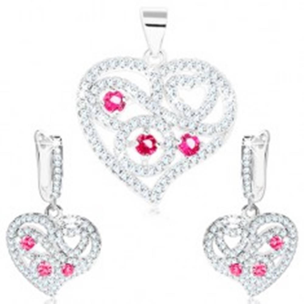 Šperky eshop Sada - strieborné náušnice a prívesok 925, číre srdce, špirály, ružové zirkóny