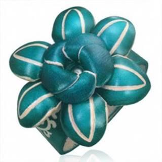 Kožený náramok - tmavozelený 3D kvet s ozdobnými zárezmi