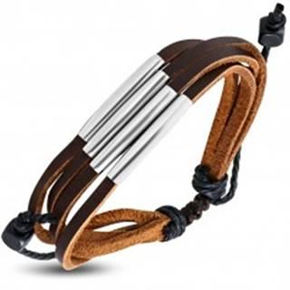 Kožený náramok hnedej farby - štyri pásiky s kovovými rúrkami