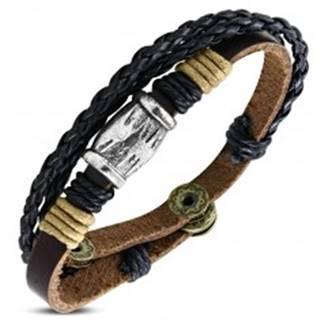 Multi náramok - hnedý pás s kovovým valcom a dva pletence