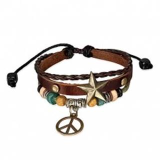 Multi náramok - pás s hviezdou, pletenec, šnúrka a symbol mieru