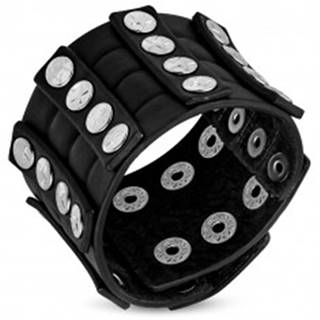 Široký kožený náramok - vybíjaný, okrúhle nity s päťcípymi hviezdičkami